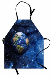 Dünya ve Yıldızlar Mutfak Önlüğü Şık Tasarım
