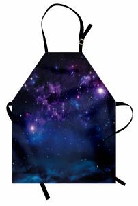 Lacivert Mor Uzay Mutfak Önlüğü Şık Bulutlu