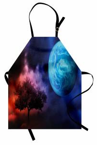 Ağaç ve Dünya Desenli Mutfak Önlüğü Mavi Lacivert Mor