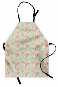 Pembe ve Yeşil Çiçek Mutfak Önlüğü Şık Mavi