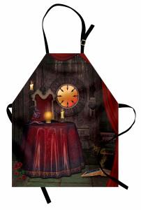 Büyücü ve Kitap Desenli Mutfak Önlüğü Orta Çağ Etkili
