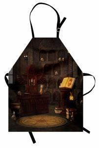 Kuru Kafalar ve Kitap Mutfak Önlüğü Kahverengi