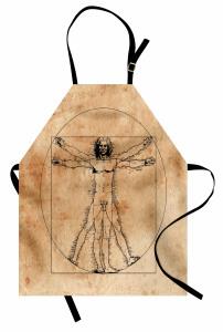 Da Vinci İnsan Anatomi Mutfak Önlüğü Geometrik