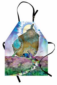 Şal Efektli Nuhun Gemisi Mutfak Önlüğü Rengarenk