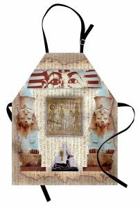 Dekoratif Antik Mısır Desenli Mutfak Önlüğü Hiyeroglif