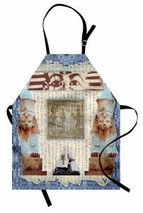 Mavi Çerçeveli Mısır Desenli Mutfak Önlüğü Antik