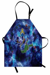 Mavi Mitolojik Fil Desenli Mutfak Önlüğü Kozmik