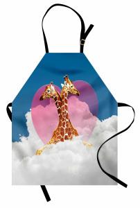 Zürafa Aşkı ve Bulutlar Mutfak Önlüğü Kalpli
