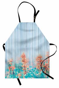 Pembe Turuncu Kır Çiçekleri Mutfak Önlüğü Mavi Ahşap