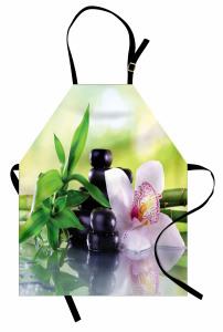 Çiçek Taş ve Bambu Mutfak Önlüğü Yeşil Sağlık