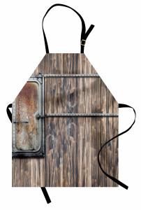 Ahşap Duvarın Metal Kapısı Mutfak Önlüğü Country Tarzı