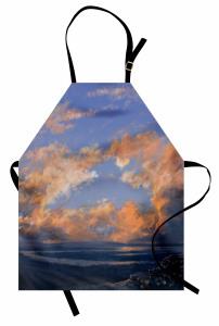 Tepeden Bulutlar ve Nehir Mutfak Önlüğü Doğa