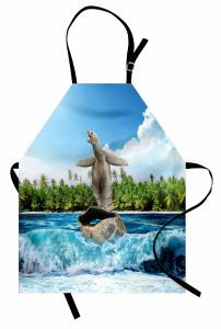 Kabuğunda Sörf Yapan Kaplumbağa Mutfak Önlüğü Komik