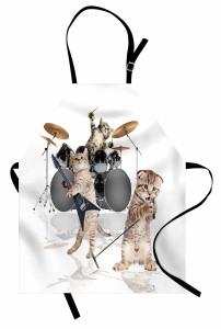 Cazcı Kedi Kardeşler Desenli Mutfak Önlüğü Beyaz