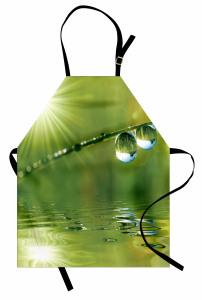 Daldaki Su Damlaları Mutfak Önlüğü Yeşil Doğa