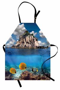 Denizin Altı ve Üstü Mutfak Önlüğü Balık Gökyüzü Mavi
