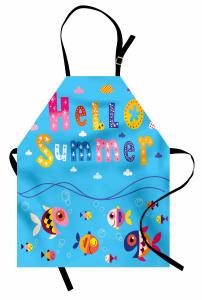 Güneşli Gün ve Balıklar Mutfak Önlüğü Yaza Merhaba
