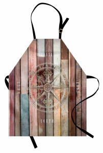 Kahverengi Ahşap Pusula Mutfak Önlüğü Dekoratif