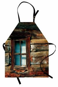 Ahşap Pencere ve Duvar Mutfak Önlüğü Retro