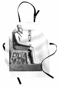 Oturan Mısır Heykeli Mutfak Önlüğü Hiyeroglifli