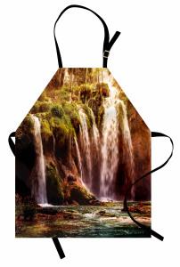 Ormandaki Şelale Mutfak Önlüğü Yeşil Doğa