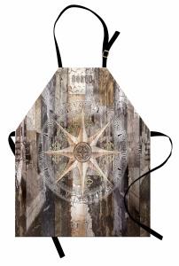 Bej Kahverengi Pusula Mutfak Önlüğü Ahşap