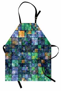 Yeşil Lacivert Mozaik Mutfak Önlüğü Geometrik