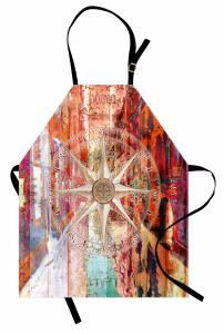 Pusula ve Ahşap Desenli Mutfak Önlüğü Sonbahar Efektli