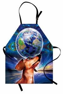 Dünya Köpeğin Başında Mutfak Önlüğü Uzay