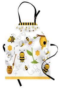 Arı ve Bal Desenli Mutfak Önlüğü Sarı ve Siyah