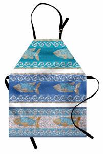 Mozaik Balık Desenli Mutfak Önlüğü Dekoratif