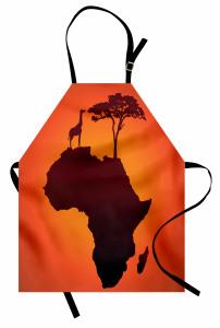 Afrika Zürafa ve Ağaç Mutfak Önlüğü Kahverengi