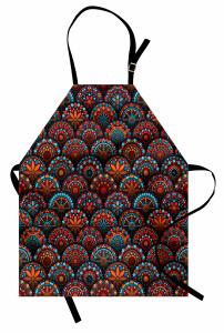 Dairesel Mozaik Desenli Mutfak Önlüğü Rengarenk