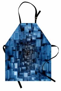 Mavi Bloklar Mutfak Önlüğü Üç Boyutlu Efektli