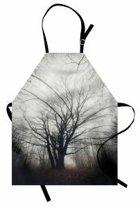 Çıplak Ağaç ve Yaprak Mutfak Önlüğü Sonbahar