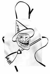 Külahlı Süpürgeli Deli Mutfak Önlüğü Karikatür