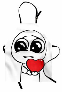 Aşık Adam ve Kalp Mutfak Önlüğü Karikatür