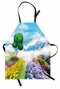 Çiçek Tarlaları ve Ağaç Mutfak Önlüğü Dekoratif