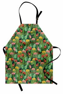 Renkli Çiçekli Kaktüs Mutfak Önlüğü Yeşil Doğa