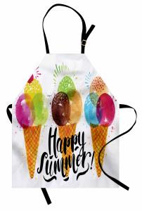 Dondurma Külahı Desenli Mutfak Önlüğü Mutlu Yaz
