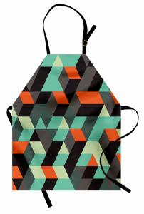 Şık Geometrik Desenli Mutfak Önlüğü 3D Etkili