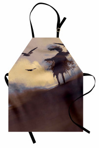 Çölde Uçan Kargalar Mutfak Önlüğü Sulu Boya