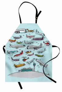 Uçak Trafiği Desenli Mutfak Önlüğü Karikatür Etkili