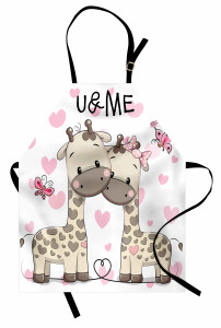 Aşık Zürafa ve Kelebek Mutfak Önlüğü Romantik