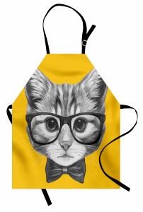 Papyonlu Gözlüklü Kedi Mutfak Önlüğü Dekoratif