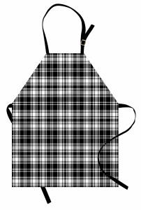 Ekoseli Desen Mutfak Önlüğü Dekoratif Siyah Beyaz