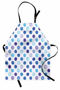 Mavi Puantiye Desenli Mutfak Önlüğü Sulu Boya Efektli