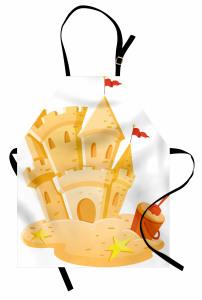 Kumdan Kale Desenli Mutfak Önlüğü Sarı Dekoratif