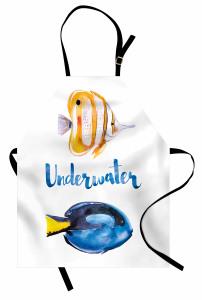 Mavi Sarı Balık Desenli Mutfak Önlüğü Sulu Boya Etkili