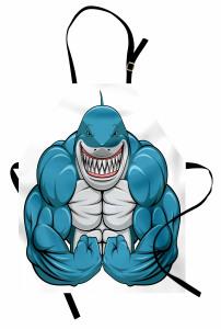 Kaslı Köpek Balığı Mutfak Önlüğü Mavi Hayvan